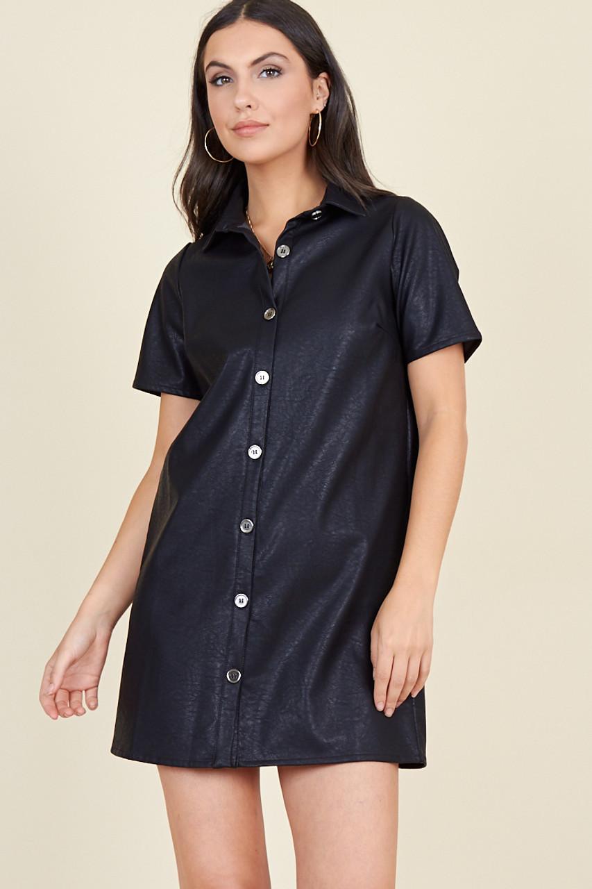 Black Matt Pu Short Sleeve Oversized Mini Shirt Dress