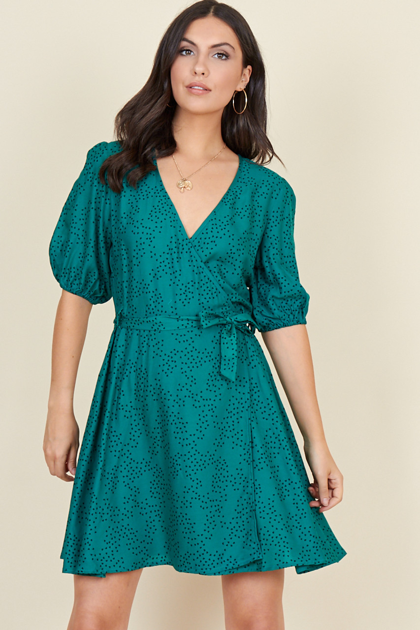 Dark Teal Scattered Mini Heart Short Puff Sleeve Wrap Mini Dress With Belt