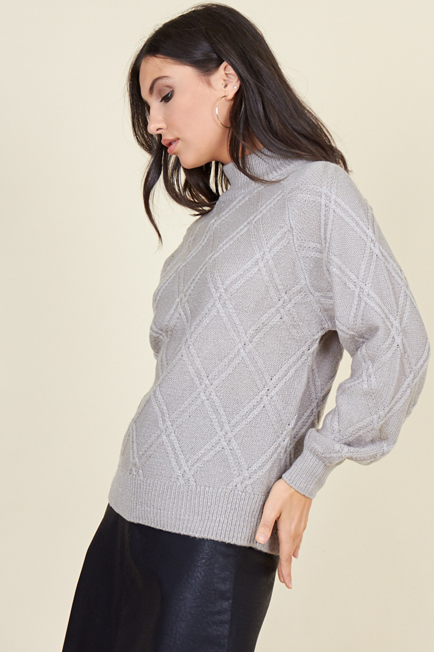 Grey Diamond Knitted High Neck Jumper