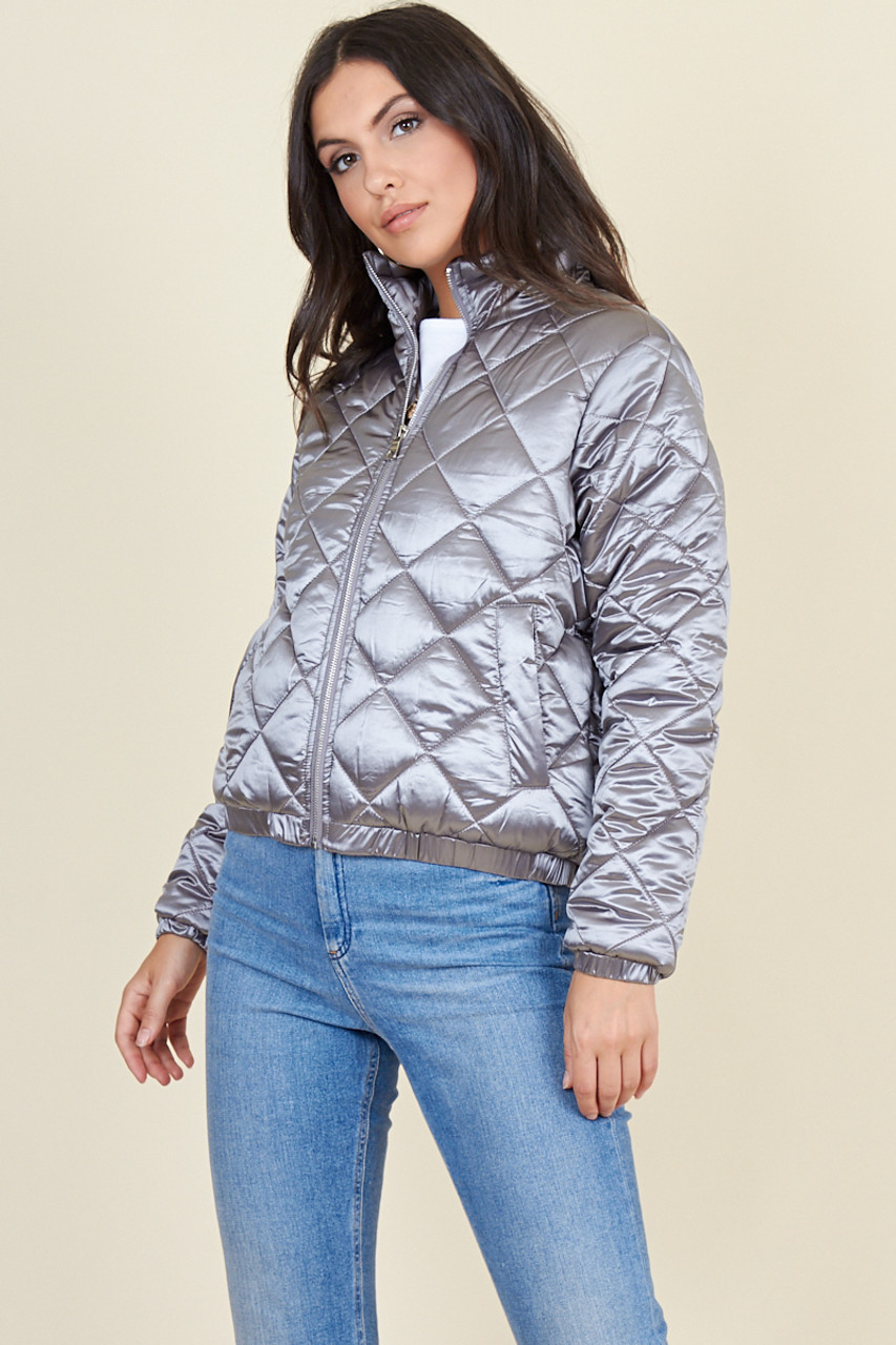 Silver Quilted Satin Jacket