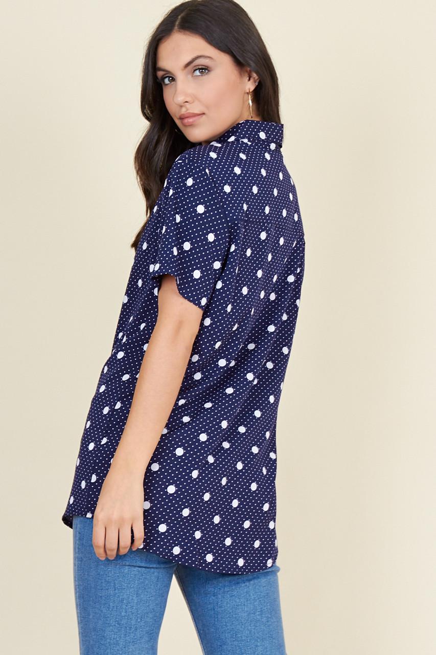 Navy White Multi Size Polka Dot Short Sleeve Boyfriend Shirt