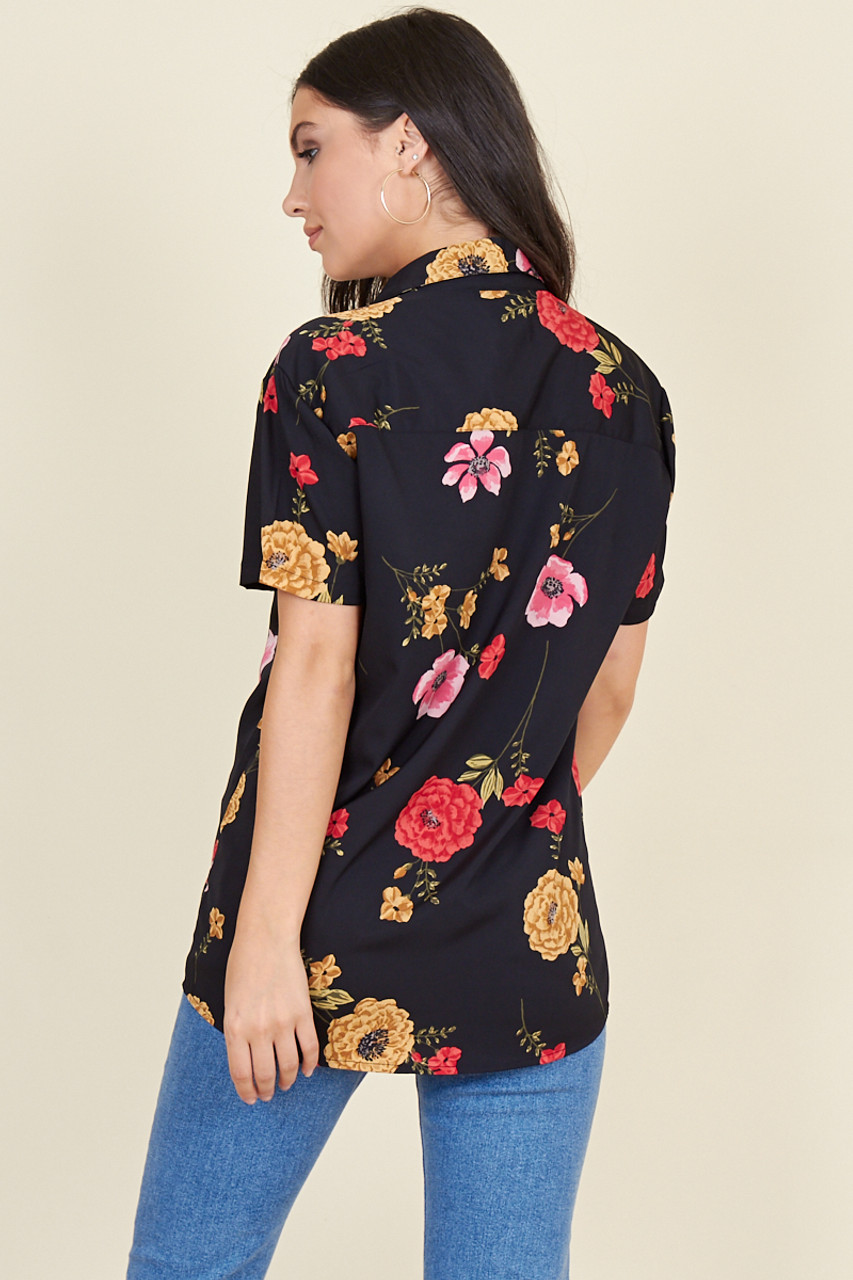 Black Base Large Floral Short Sleeve Boyfriend Shirt