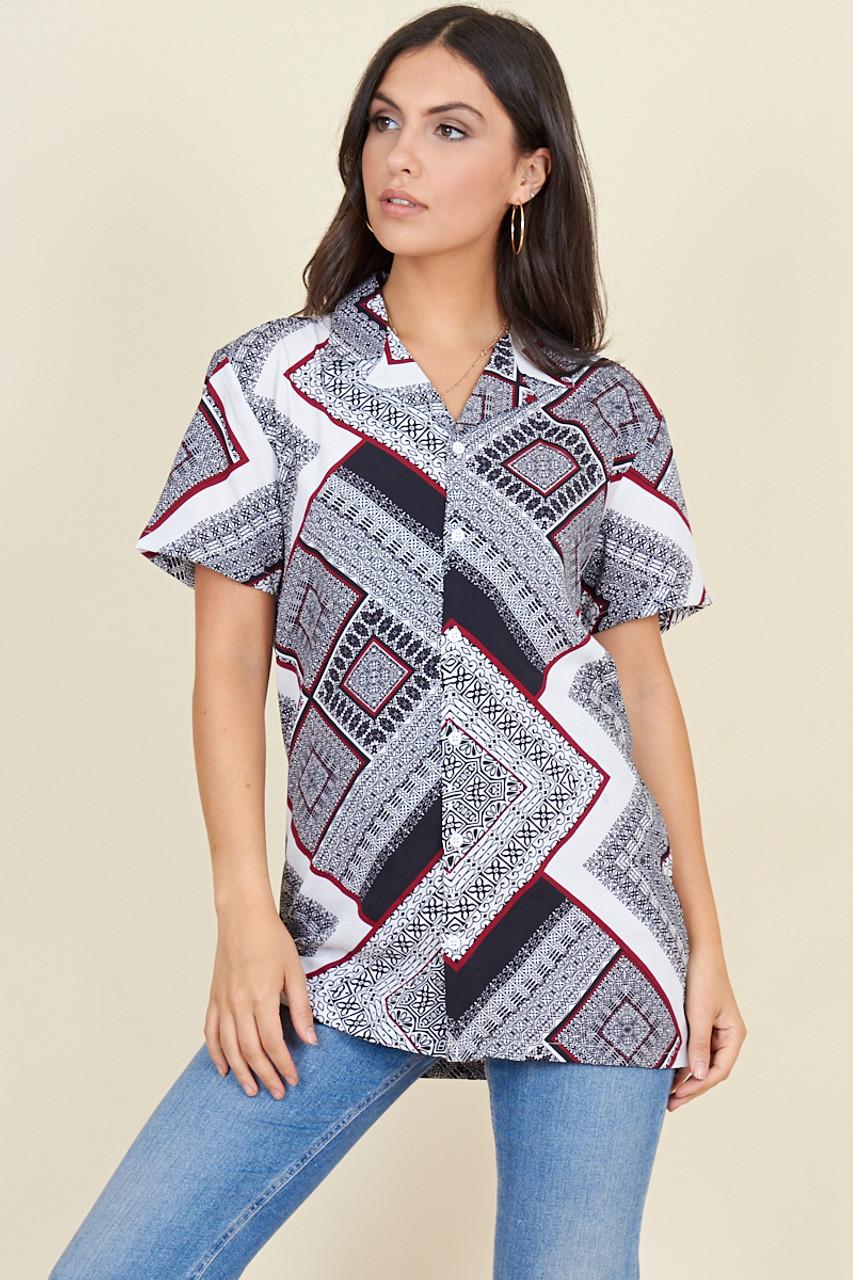 White Black Burgundy Scarf Print Short Sleeve Boyfriend Shirt