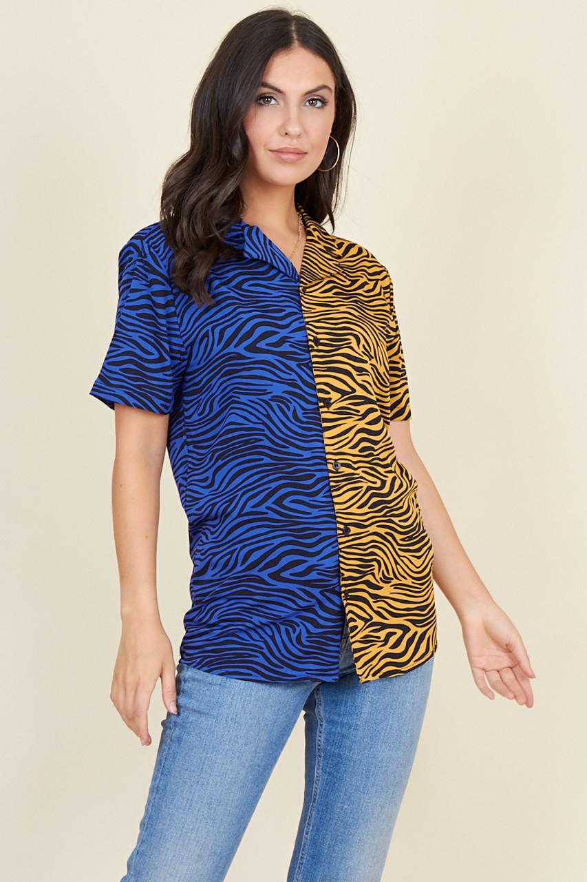Blue Mustard Tiger Mix And Match Short Sleeve Boyfriend Shirt