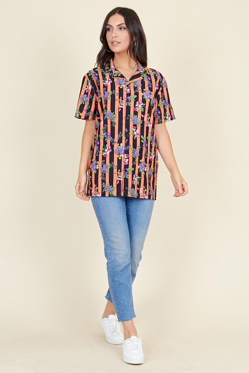 Multi Stripe Floral Short Sleeve Boyfriend Shirt
