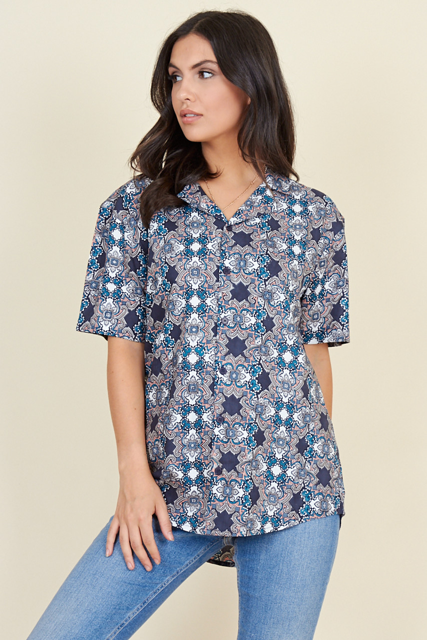 Blue Moroccan Tile Short Sleeve Boyfriend Shirt