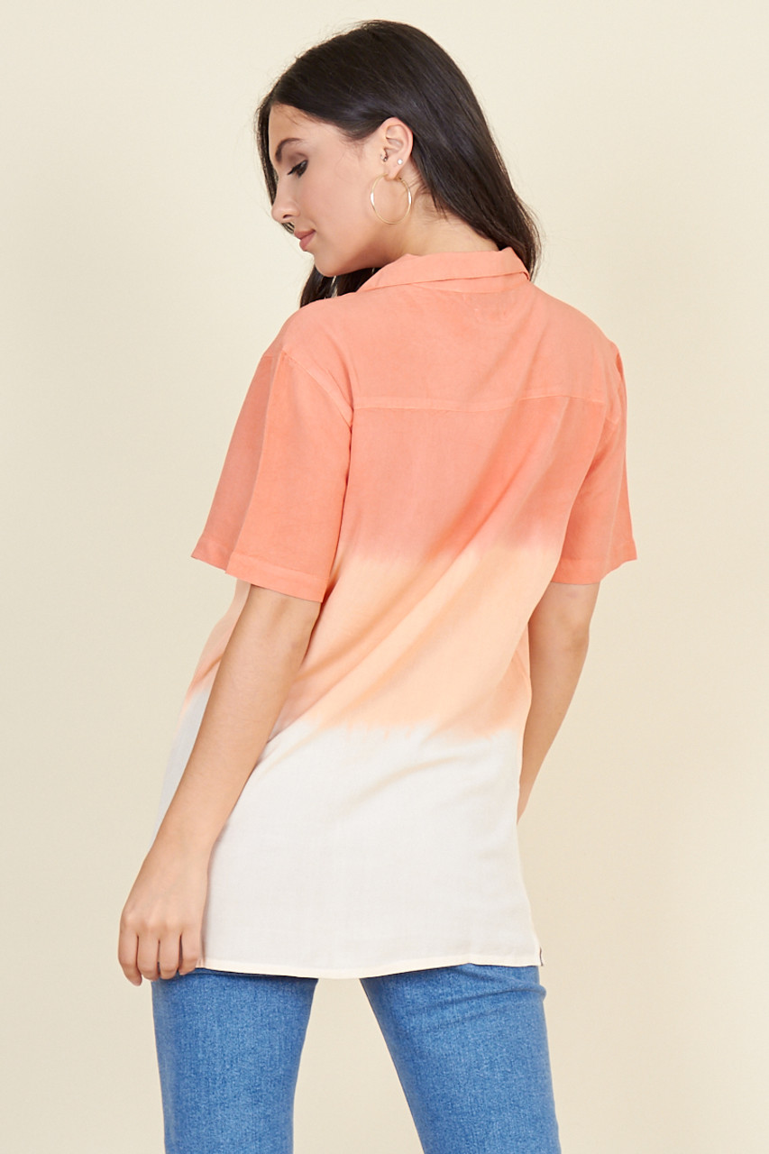 Peach Faded Linen Look Short Sleeve Boyfriend Shirt