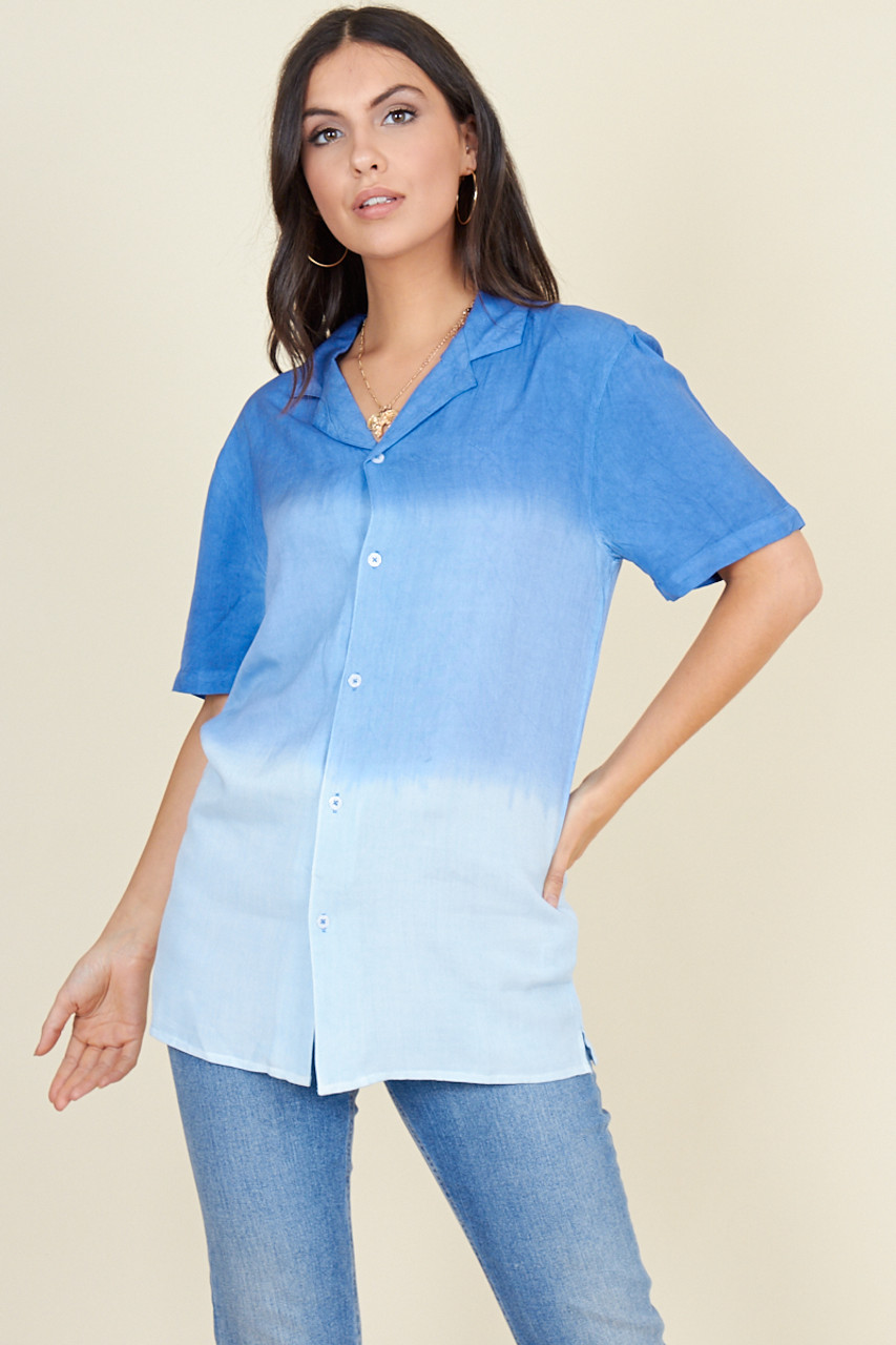 Blue Faded Linen Look Short Sleeve Boyfriend Shirt