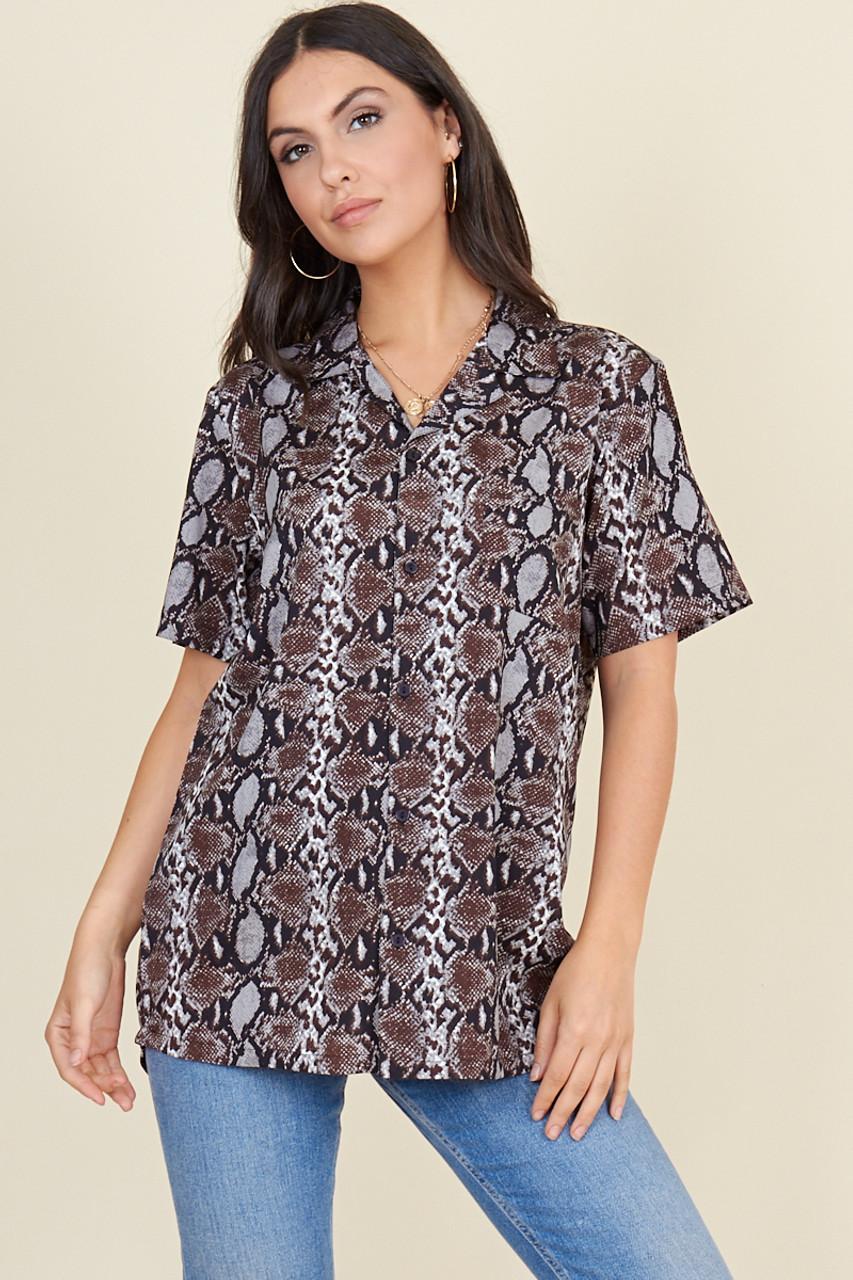 Grey Brown Snake Short Sleeve Boyfriend Shirt