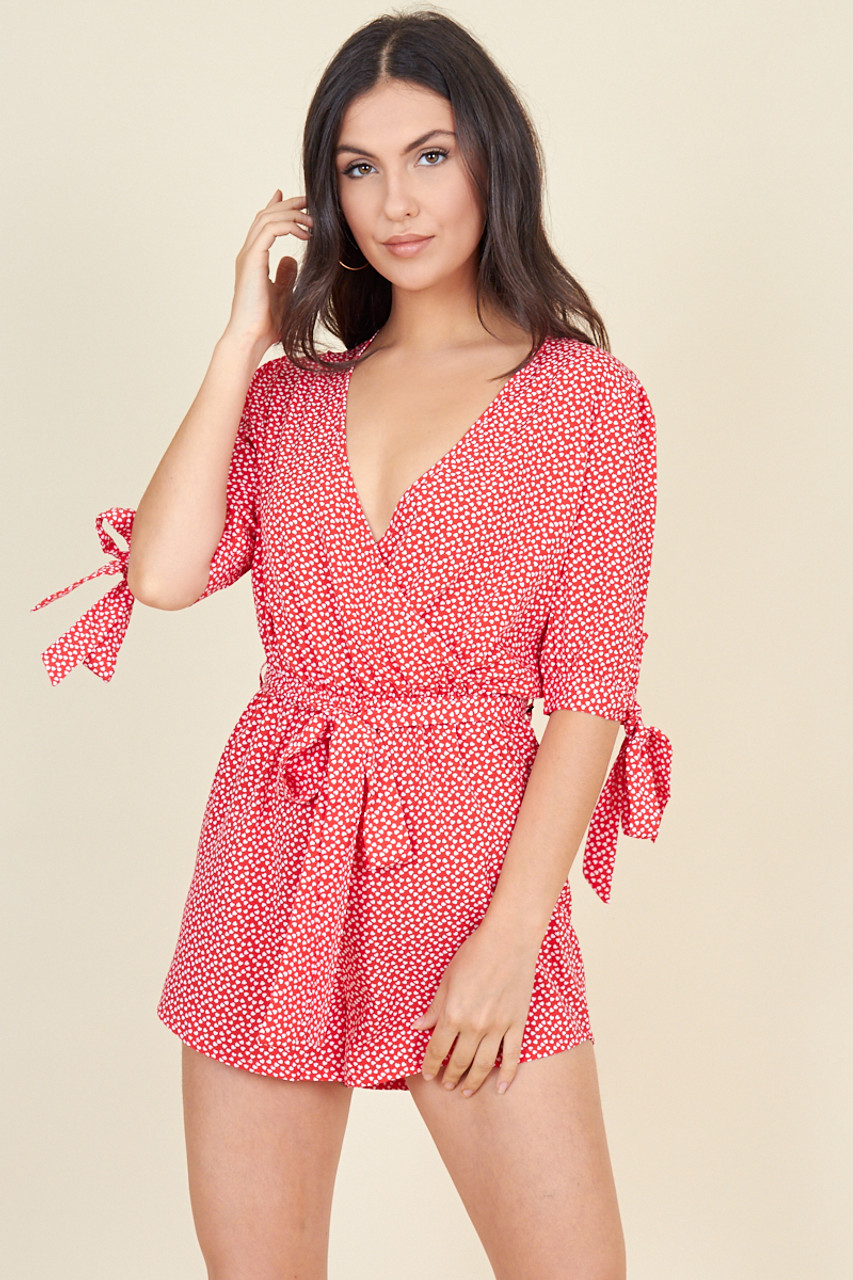 Red White Mini Heart Tie Sleeve Wrap Playsuit With Belt