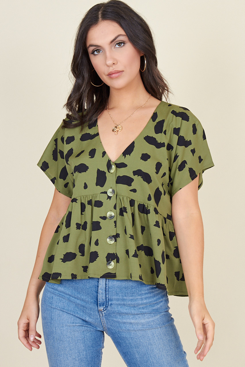 Green Black Large Splodge Button Through Short Sleeve Top