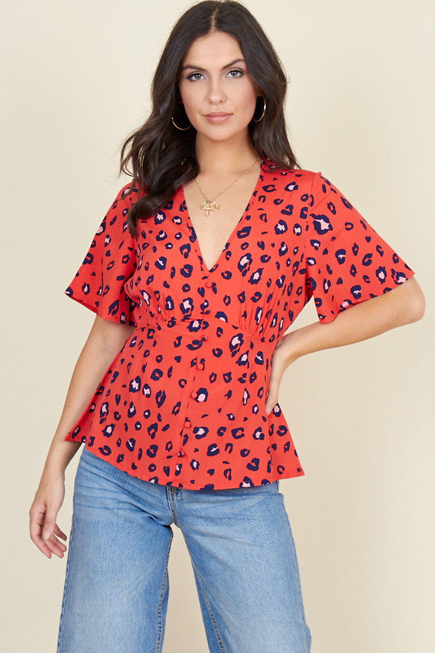 Red Navy Leopard Angel Sleeve Tea Top