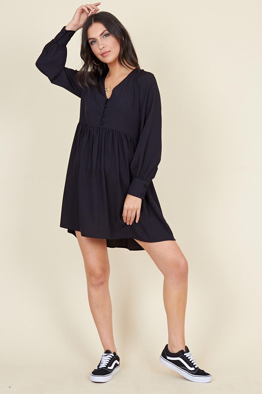 Black Long Sleeve Button Down Smock Mini Dress