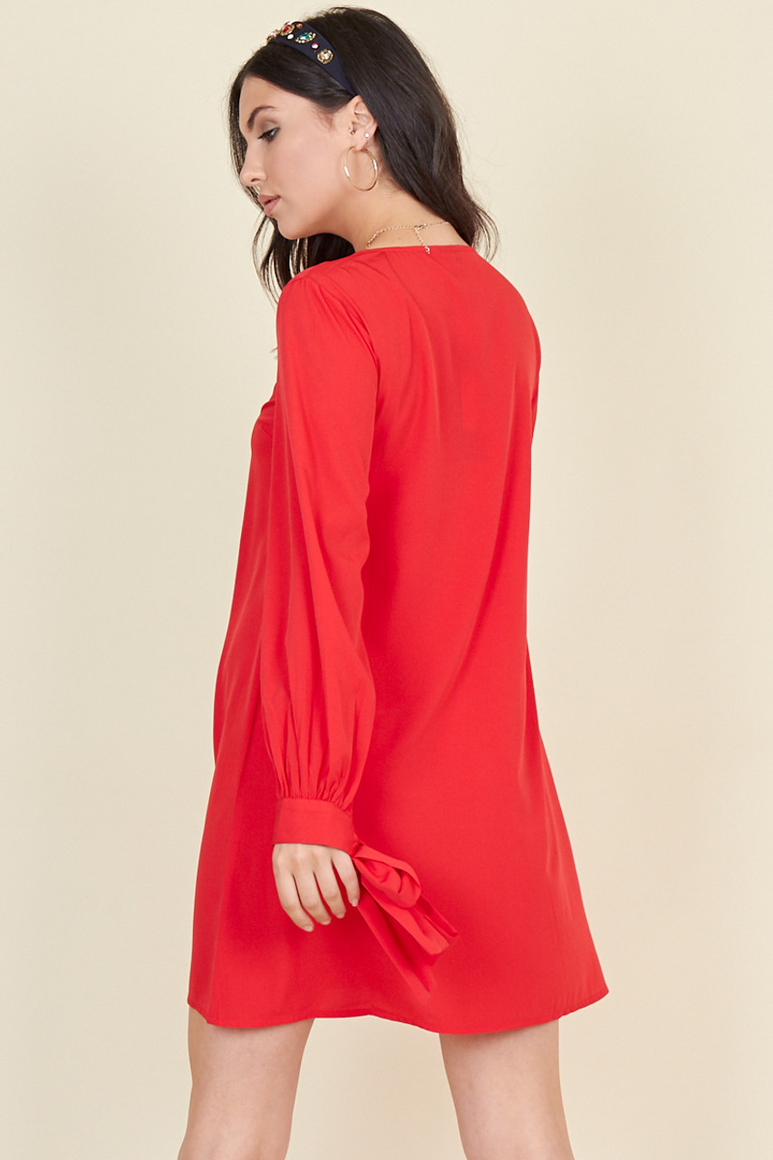 Red Tie Cuff Sleeve Button Down Trapeze Mini Dress
