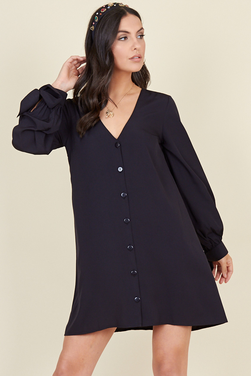 Black Tie Cuff Sleeve Button Down Trapeze Mini Dress