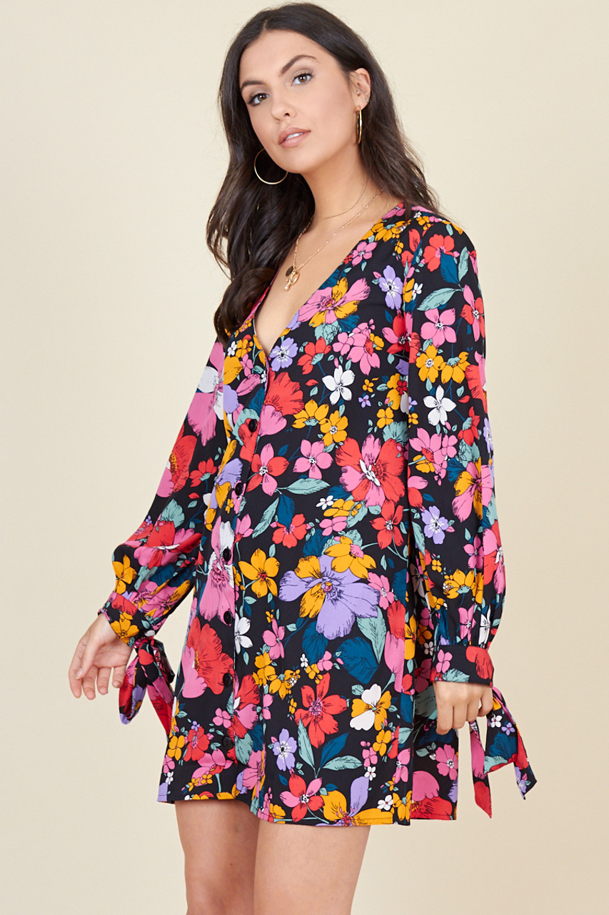 Multi Floral Print Tie Cuff Sleeve Button Down Trapeze Mini Dress