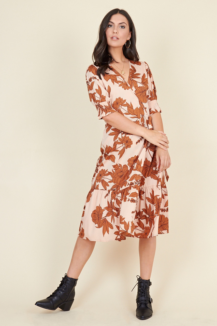 Multi Floral Print Ruffled Tiered Hem Shirred Sleeve Wrap Midi Dress