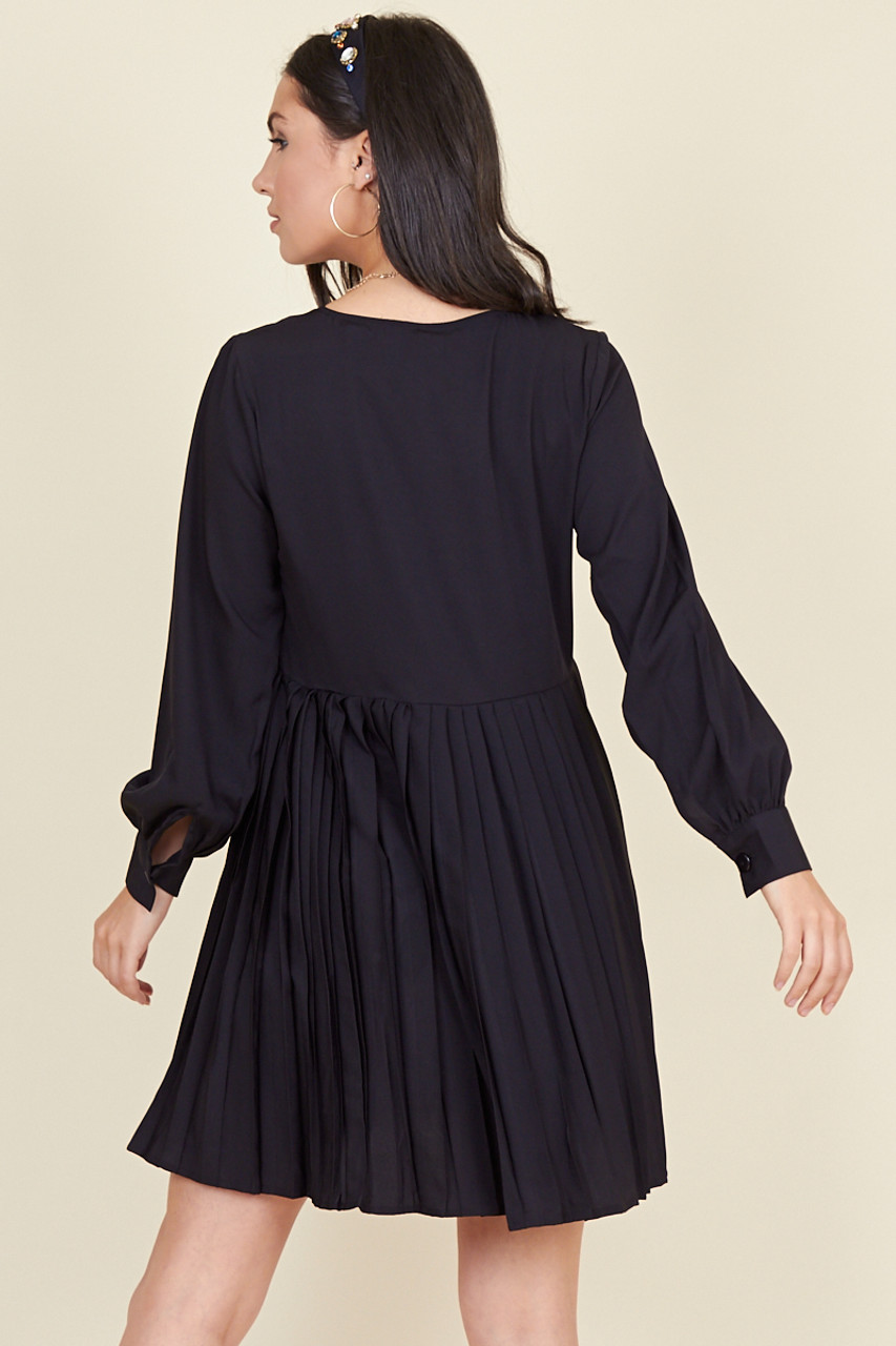 Black Button Down Smock Dress with Pleat Skirt