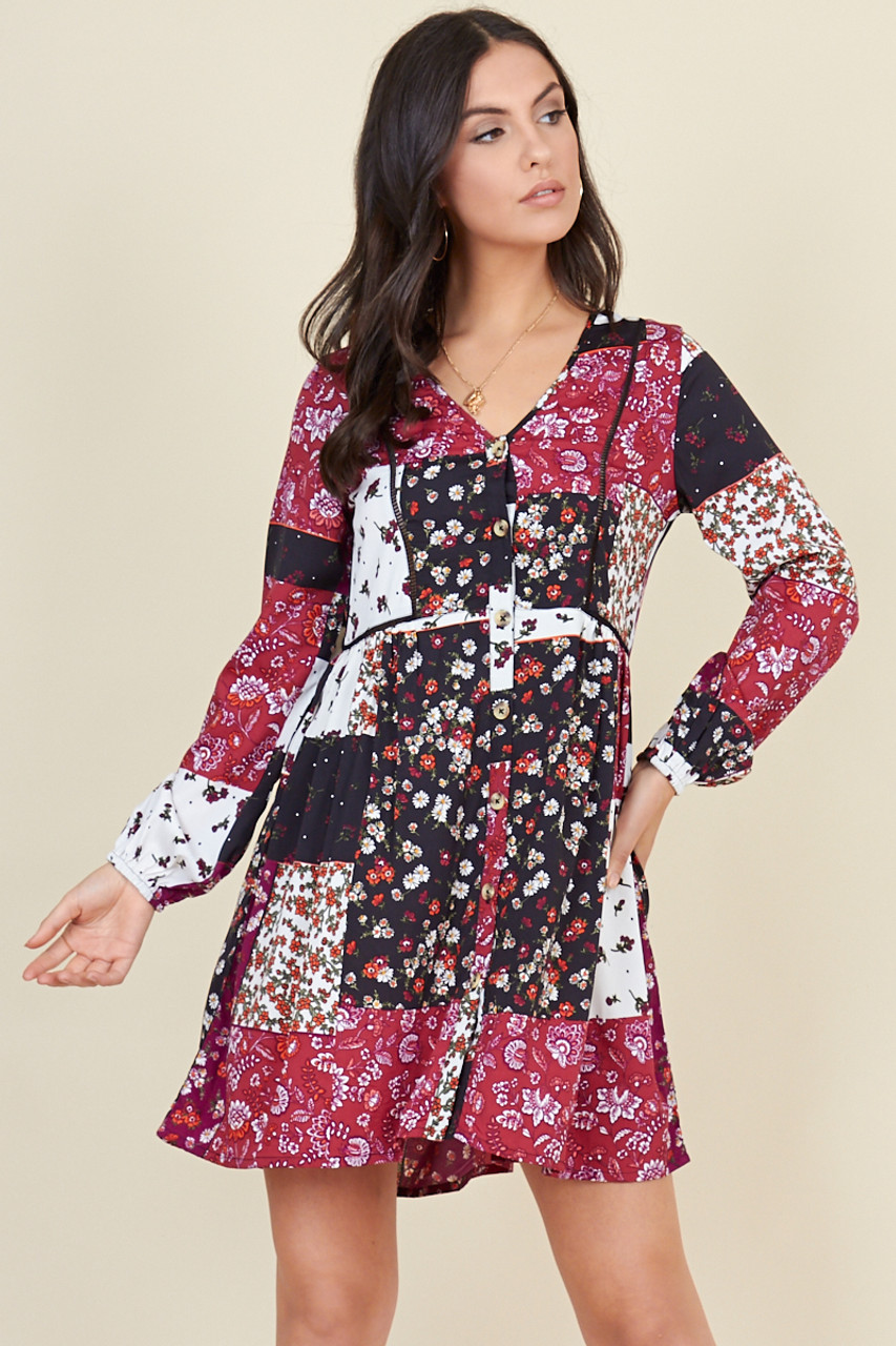 Multi Patchwork Floral Print Button Down Smock Mini Dress