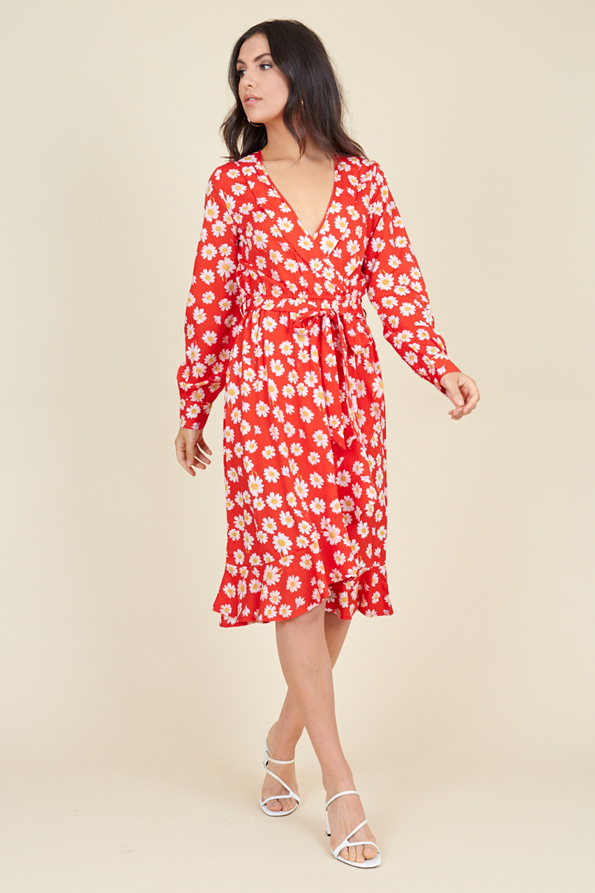 Red Daisy Floral Print Belted Ruffle Hem Wrap Midi Dress