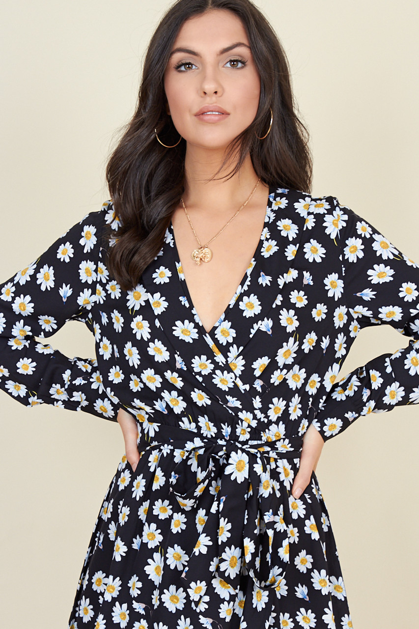 Black Daisy Floral Print Belted Ruffle Hem Wrap Midi Dress