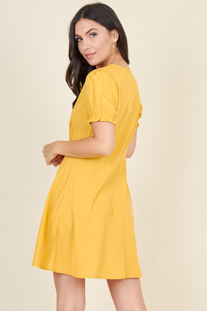 Mustard Short Puff Sleeve Button Down Mini Tea Dress