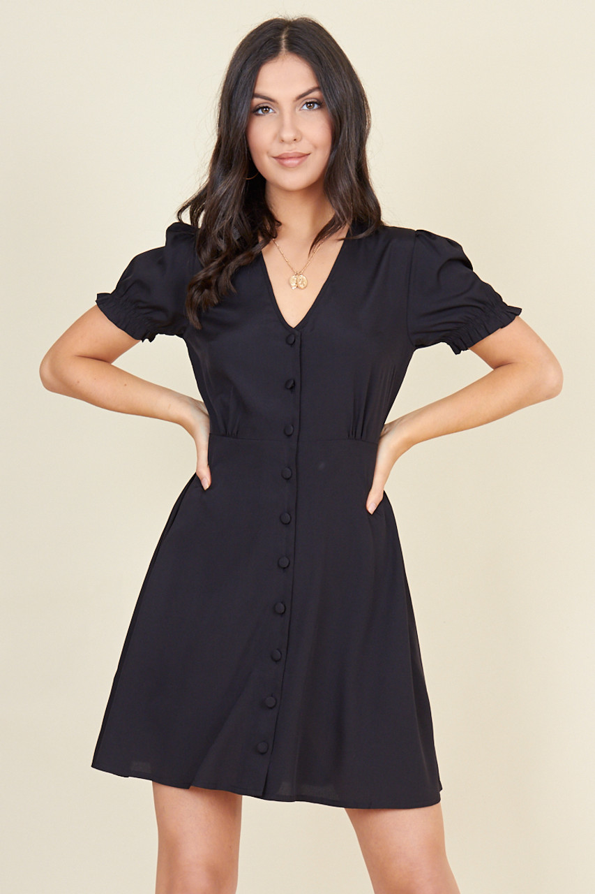 Black Short Puff Sleeve Button Down Mini Tea Dress