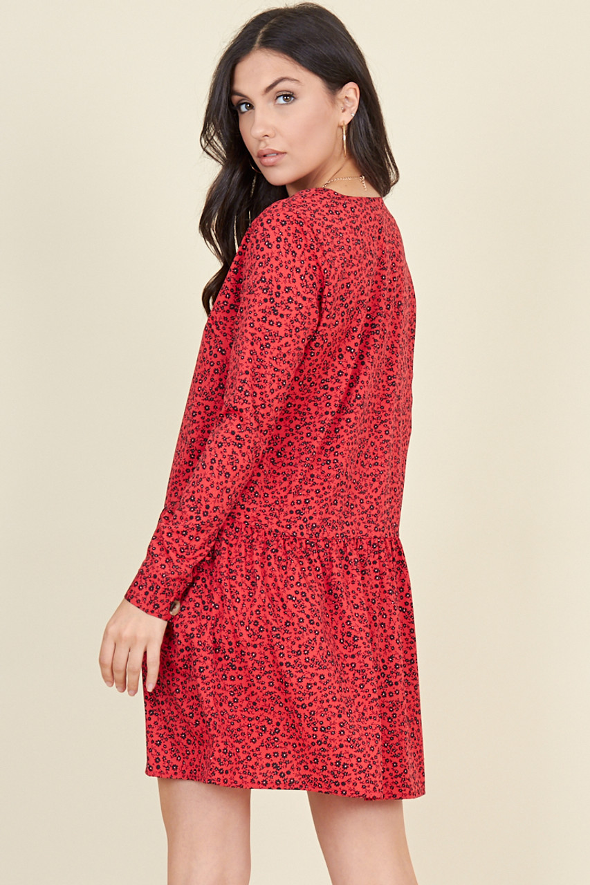 Red Floral Print Horn Button Smock Mini Dress