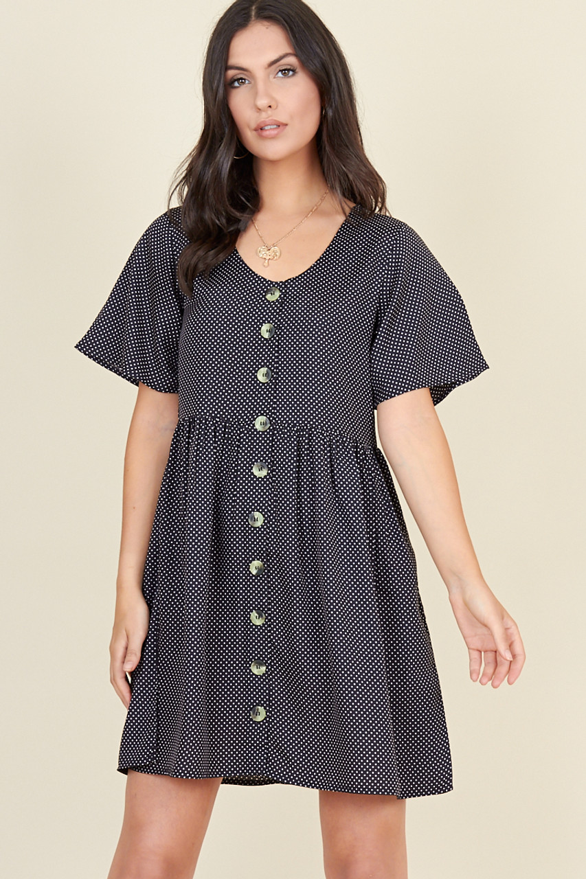 Black Polka Dot Horn Button Front Mini Smock Dress
