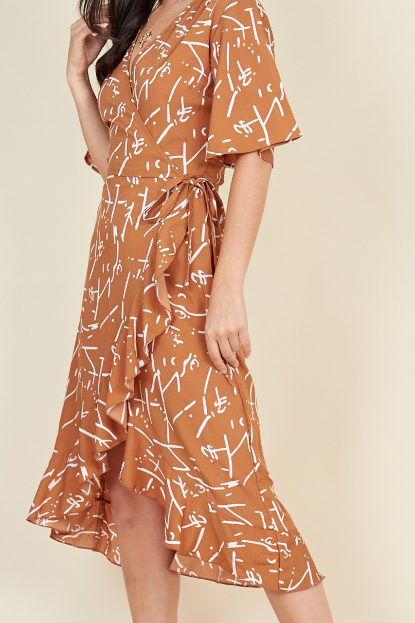 Brown and White Scribble Print  Wrap Midi Dress with Frill