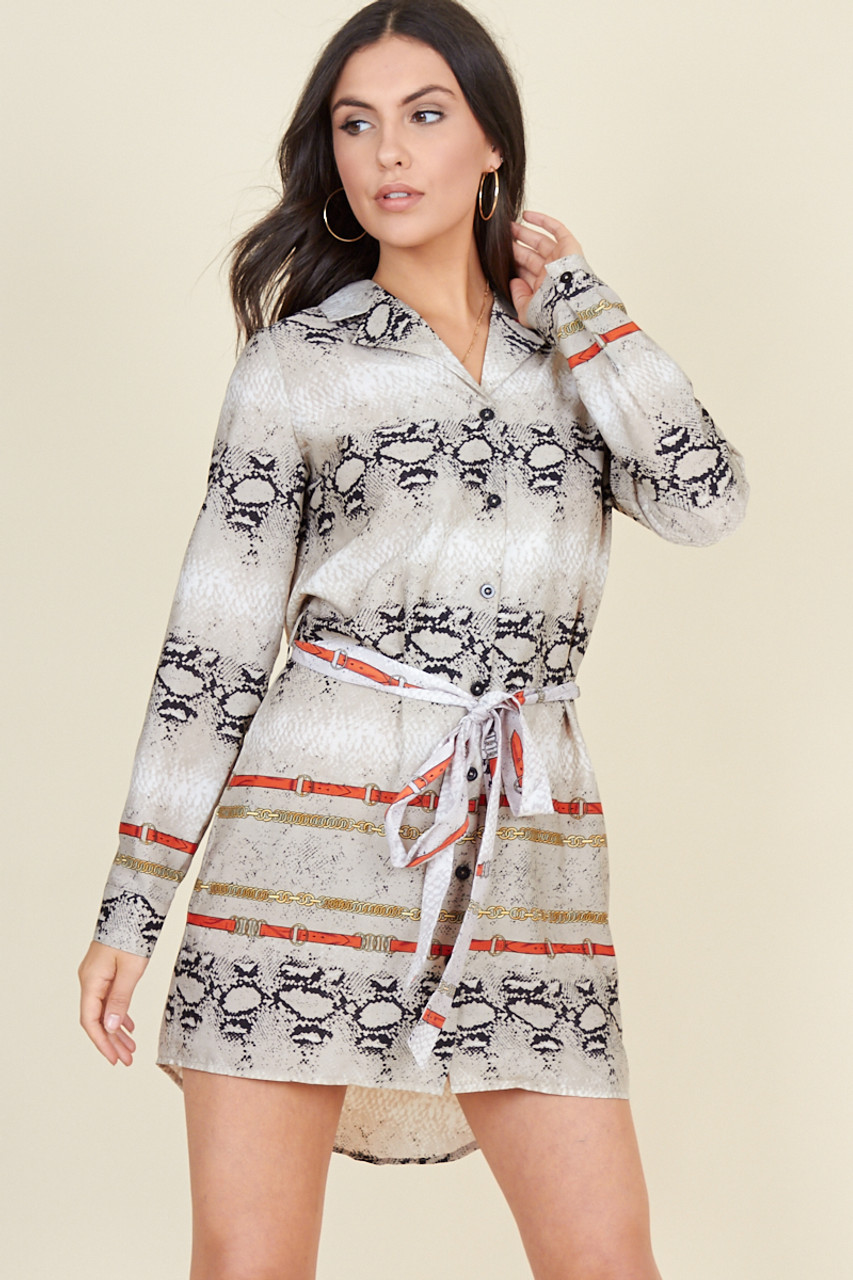 Snake Chain Print Revere Collar Button Down Shirt Dress