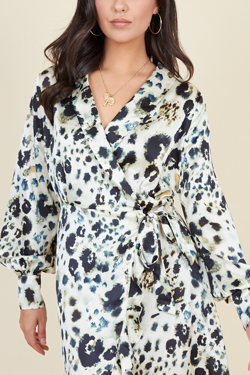 Cream Animal Print Long Sleeve Wrap Ruffle Hem Midi Dress