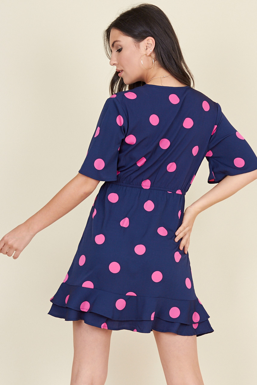 Navy Pink Large Spot Wrap Frill Skirt Mini Dress