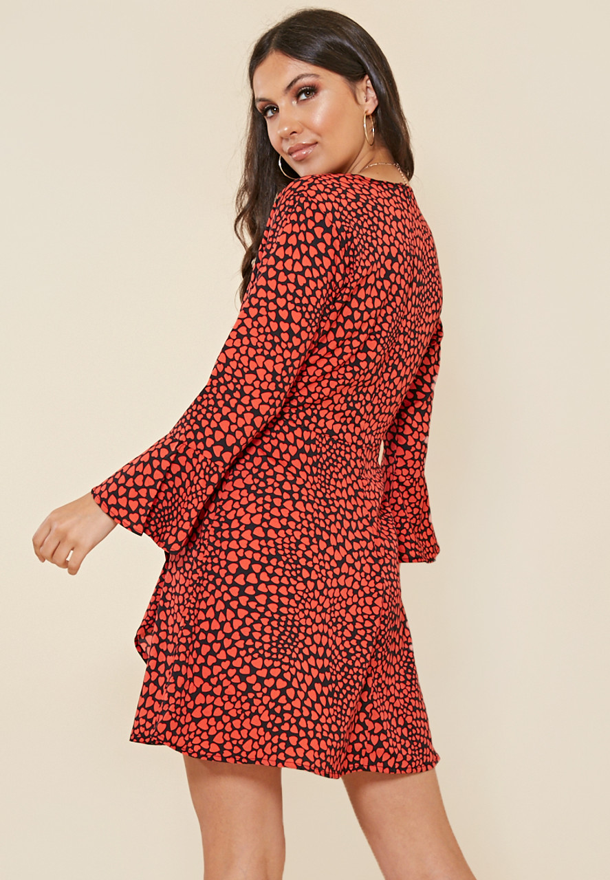 Red Heart Print Wrap Dress With Frill And Fluted Sleeve