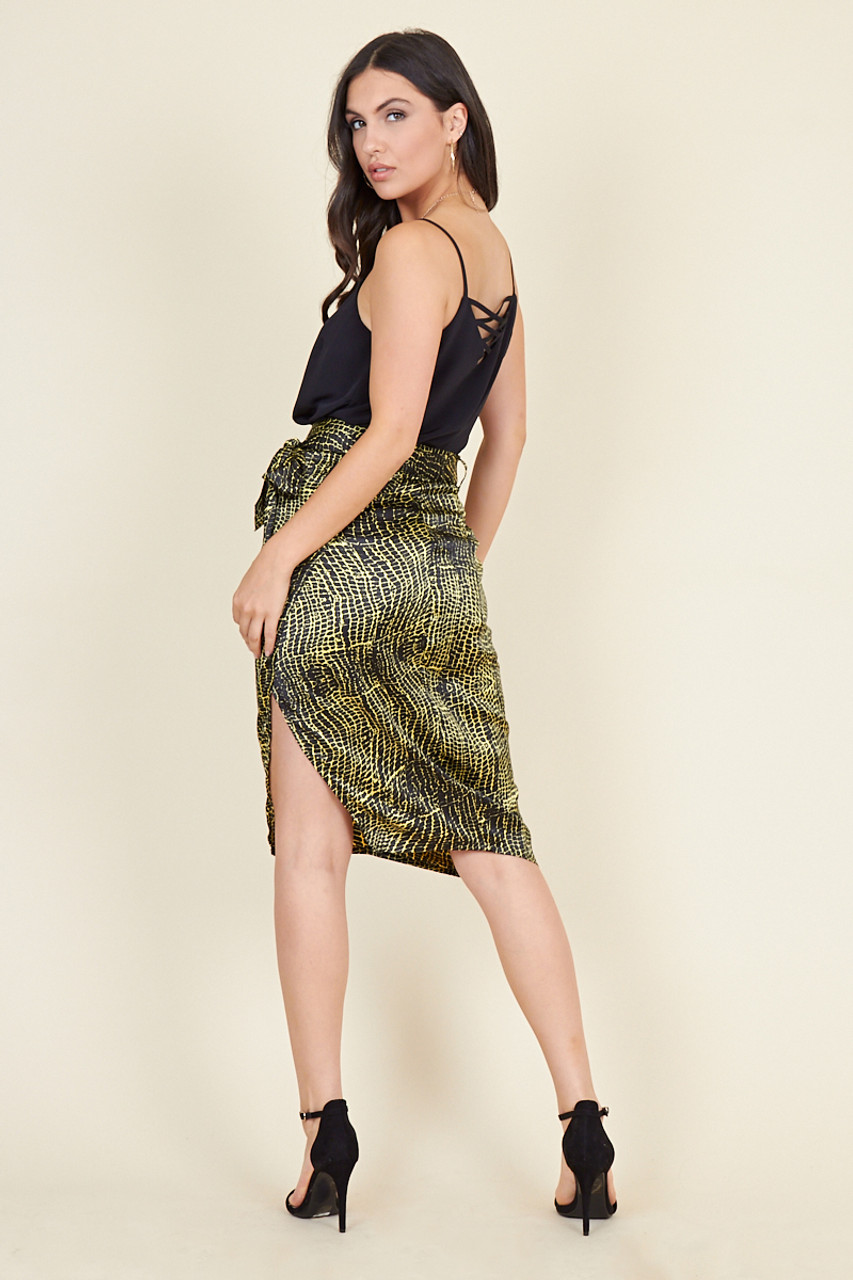 Black Yellow Satin Snake Animal Print Wrap Midi Skirt