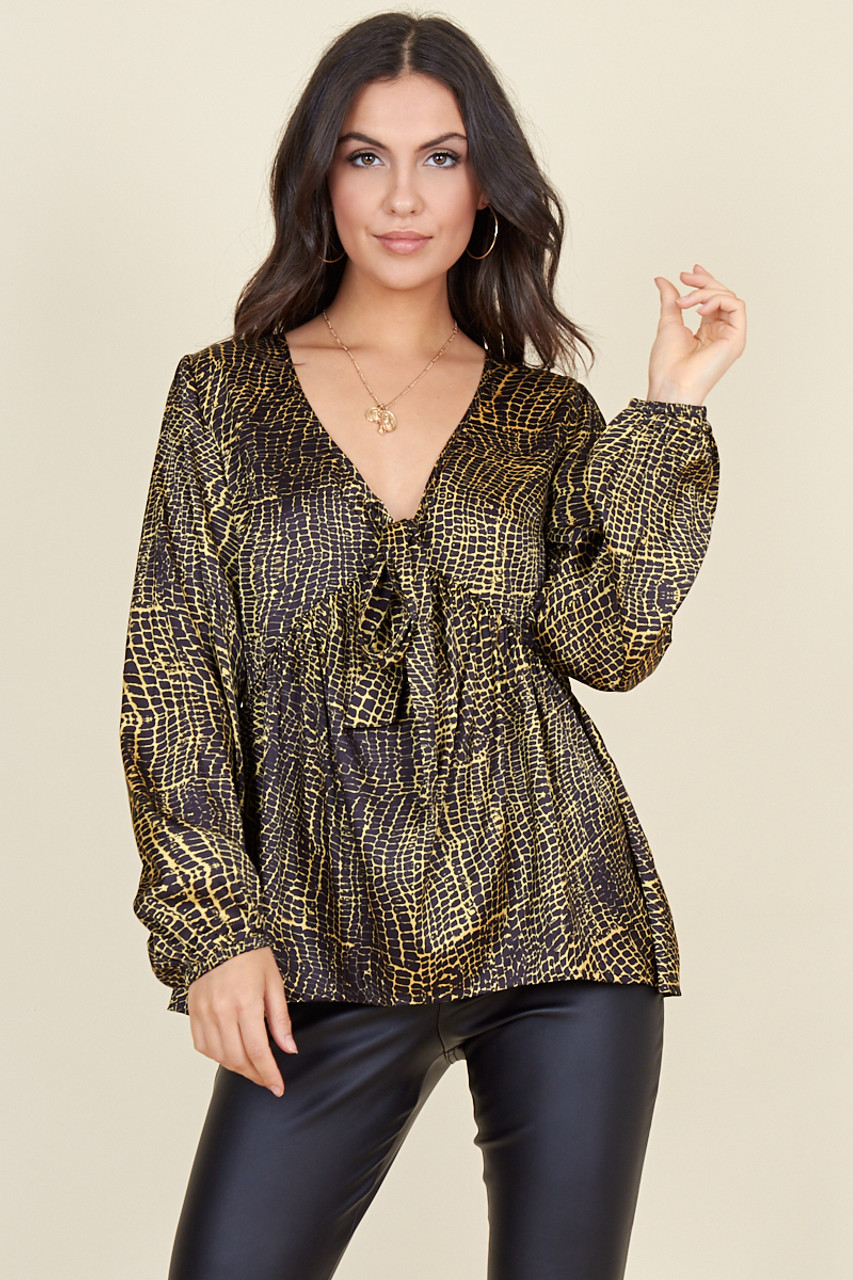 Black Yellow Satin Snake Print Plunge Tie Front Long Sleeve Top