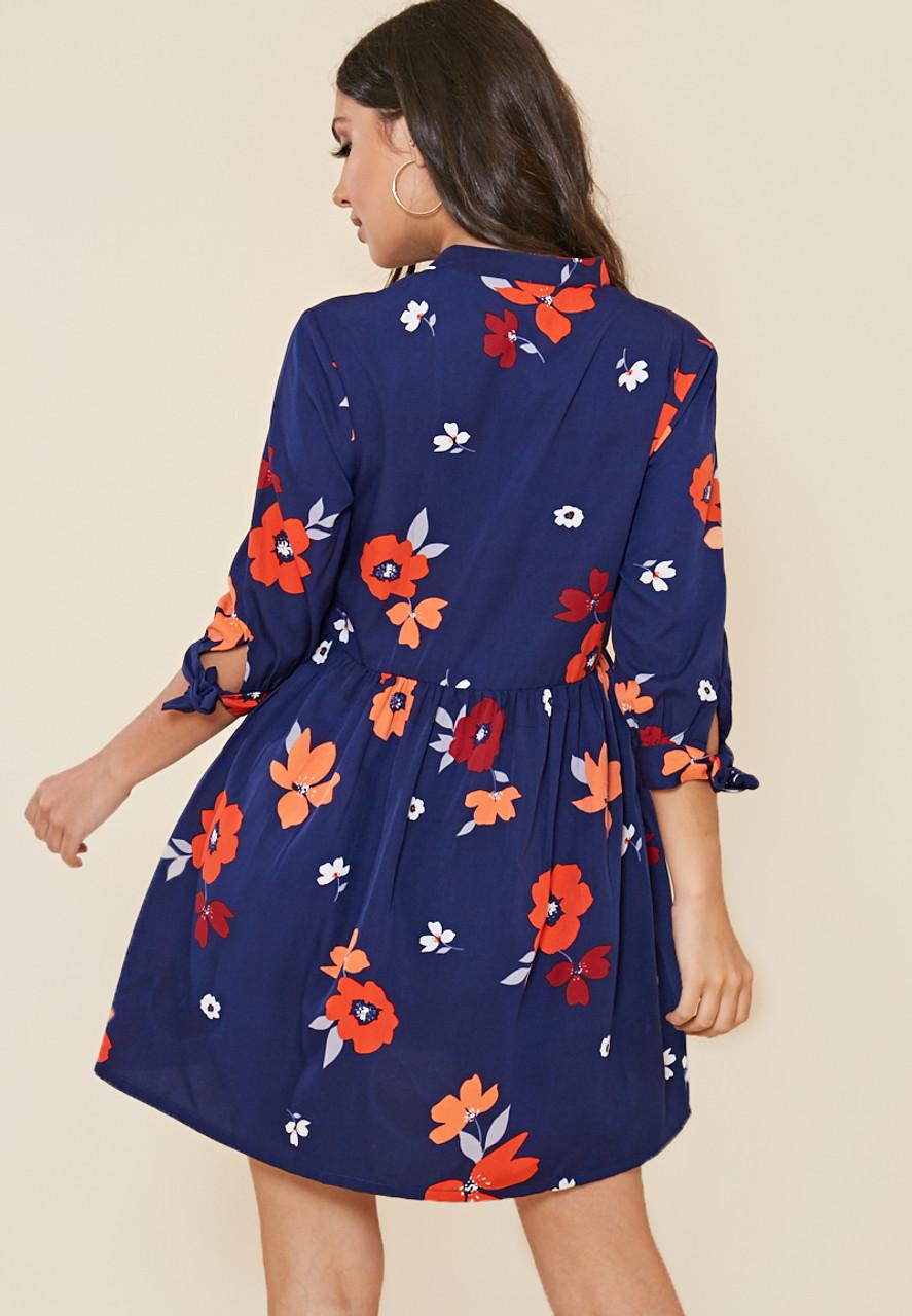 Navy Floral Print Granddad Collar Smock Style Shirt Dress