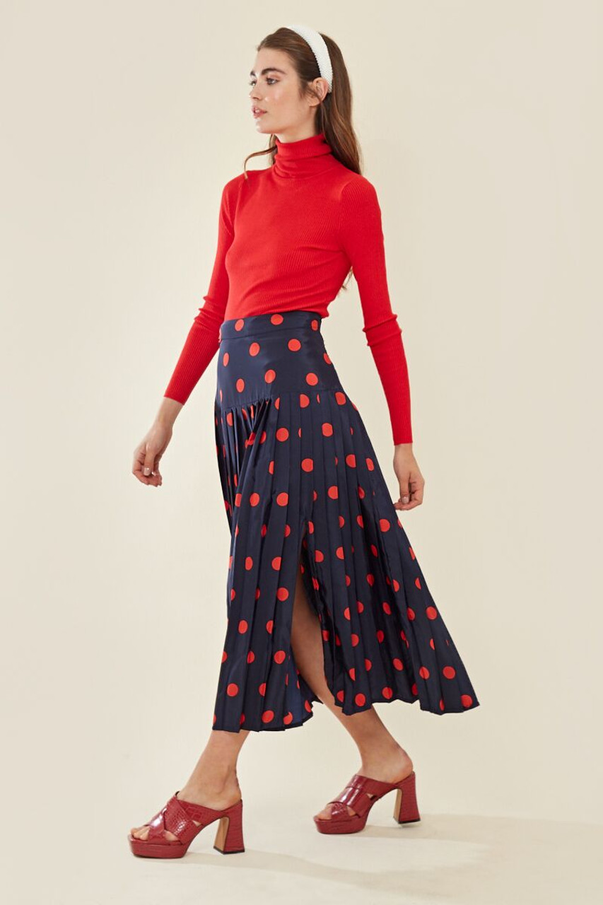 Spot Pleated Split Midi Skirt