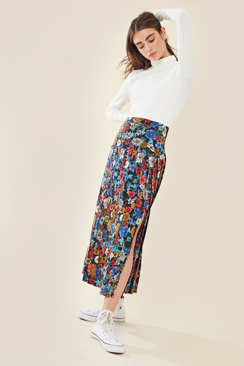 Floral Split Pleated Midi Skirt