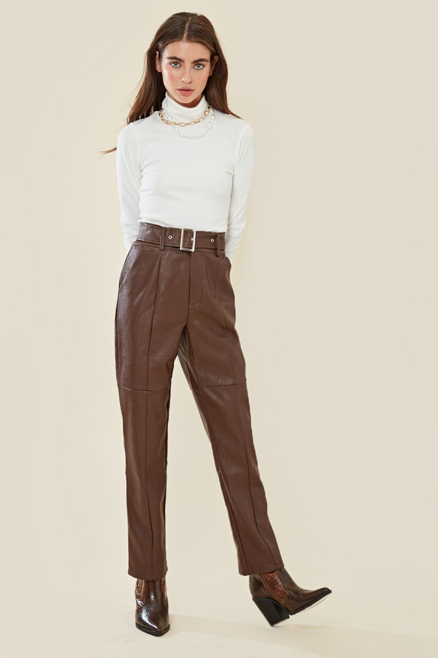 Faux Leather High Waisted Belted Trouser