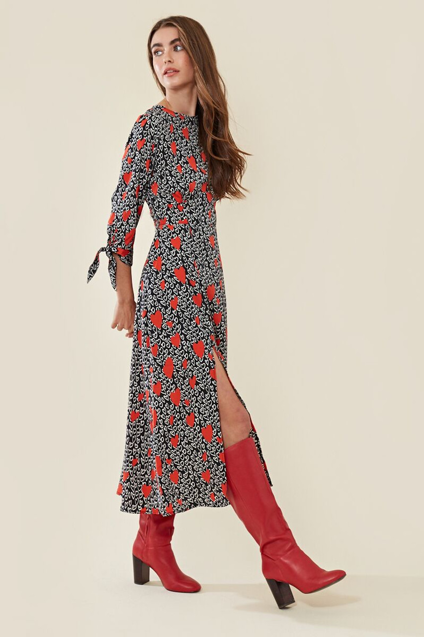 Harper Heart Midi Dress With Thigh Split