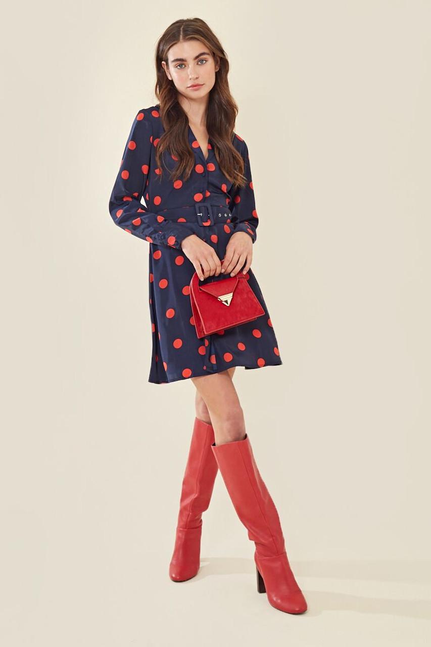 Spot Buckle Belt Mini Tea Dress
