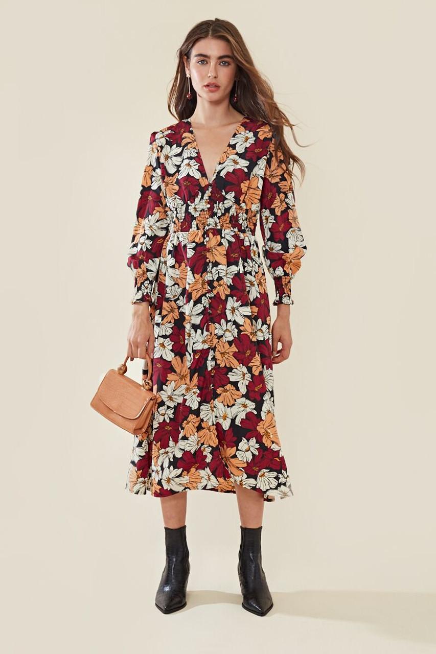 Romi Retro Shirred Waist Plunge Midi Dress
