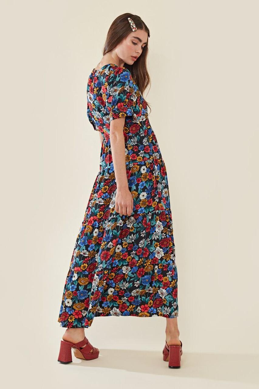 Floral Maxi Balloon Sleeve Tea Dress
