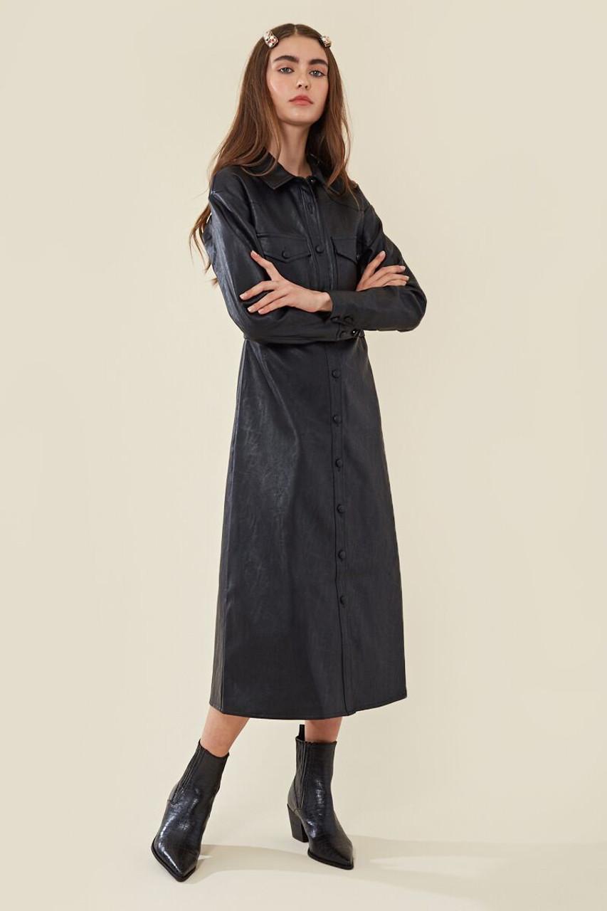 Faux Leather Midi Shirt Dress