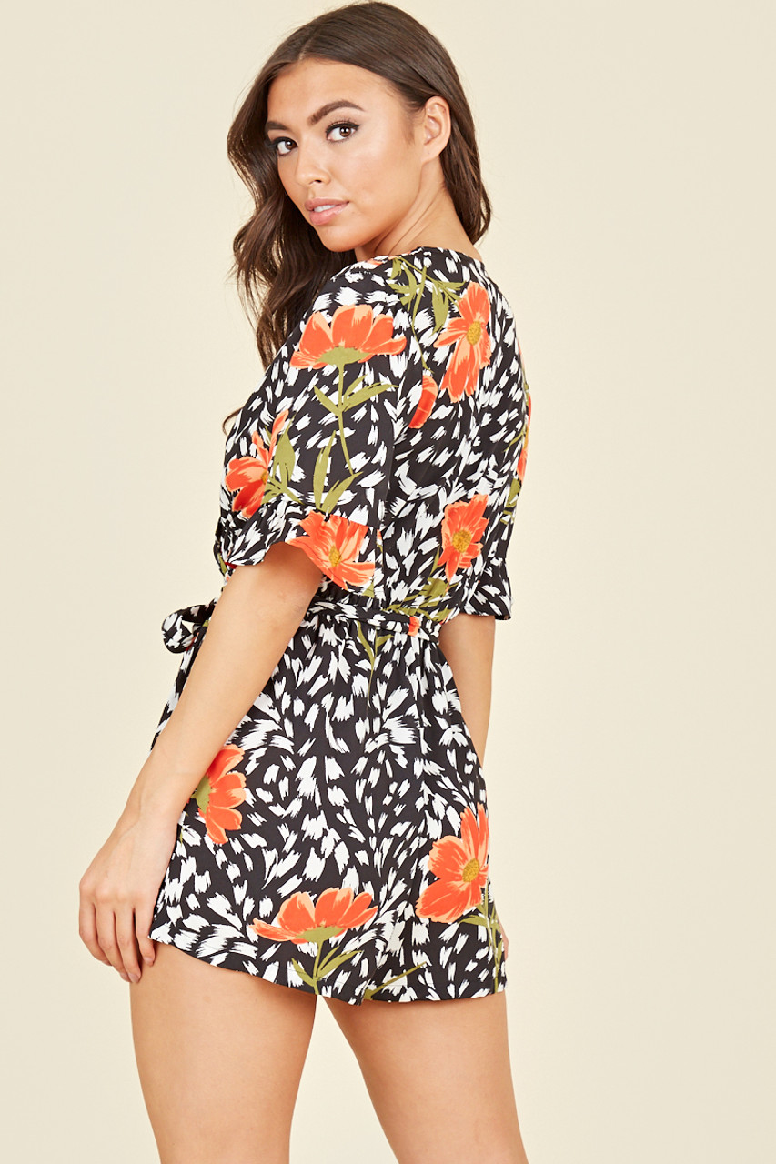 Wrap Front Ruffle Sleeve Belted Playsuit In Abstract Floral Print