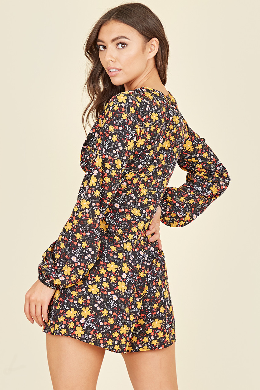 Long Balloon Sleeve Plunge Playsuit In Multi Ditsy Floral Print