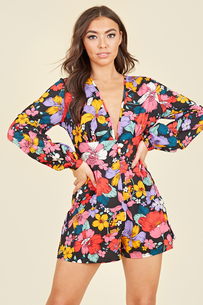 Long Balloon Sleeve Plunge Playsuit In Multi Floral Print