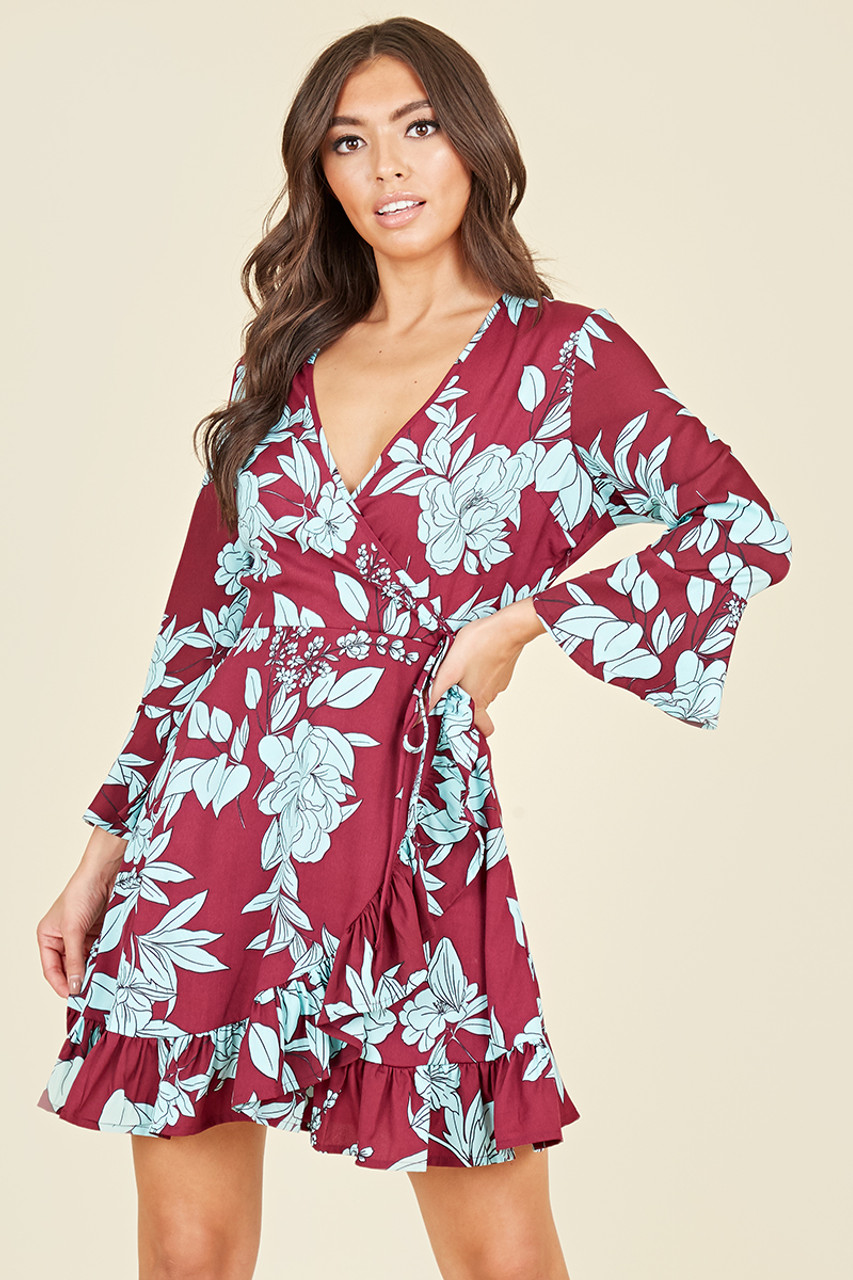 Flared Sleeve Ruffle Hem Wrap Front Mini Dress In Burgundy Blue Large Floral Print