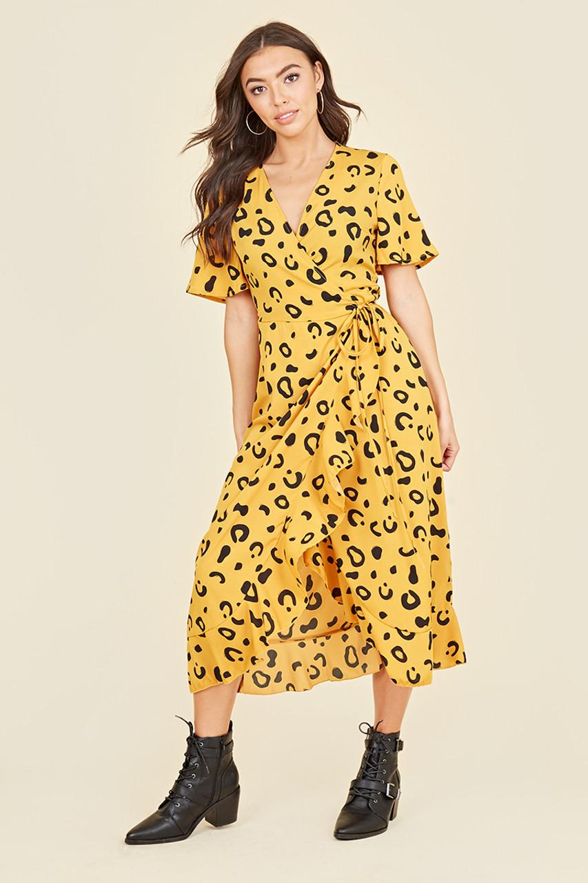 Flutter Short Sleeve Ruffle Hem Wrap Midi Dress in Yellow Abstract Animal Print